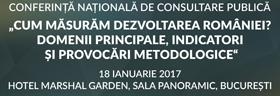 """Conferință națională: """"Cum măsurăm dezvoltarea României? Domenii principale, indicatori și provocări metodologice"""""""